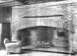 The great brick fire-arch of the former kitchen at Coldrey